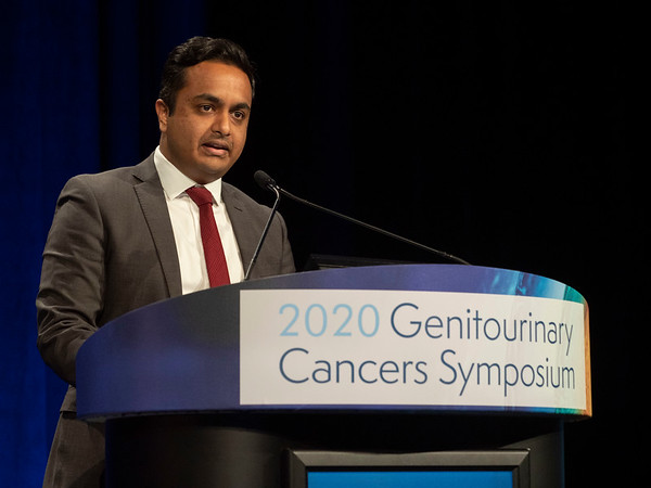 Anis Hamid, MBBS, presents Abstract 162 during Oral Abstract Session A: Prostate Cancer