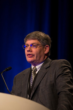 Orlando, FL - 2013 Genitourinary Cancers Symposium - Orlando, FL: Randall E. Millikan, MD, PhD discusses Gene Expression Guided Therapy for Urothelial Cancers<br />  during the General Session V: Translational Science Session: Urothelial Carcinomas at the Genitourinary Cancers Symposium 2013 here today, Friday February 15, 2013. The Symposium is supported by ASCO, the American Society of Clinical Oncology, ASTRO, the American Society of Radiation Oncology and SUO, the Society of Urologic Oncology. Over 2,500 physicians, researchers and allied healthcare professionals are attending the meeting which is being held at the Rosen Shingle Creek in Orlando and features the latest Genitourinary Cancers research in the areas of basic and clinical science.  Date: Friday February 15, 2013.  Photo by © ASCO/Todd Buchanan 2013 Technical Questions: todd@medmeetingimages.com; Phone: 612-226-5154.