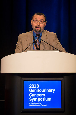 Orlando, FL - 2013 Genitourinary Cancers Symposium - Orlando, FL: Dan Theodorescu, MD, PhD discusses Gene Expression and Mutation: Prognostic Biomarkers in Urothelial Cancer during the General Session V: Translational Science Session: Urothelial Carcinomas at the Genitourinary Cancers Symposium 2013 here today, Friday February 15, 2013. The Symposium is supported by ASCO, the American Society of Clinical Oncology, ASTRO, the American Society of Radiation Oncology and SUO, the Society of Urologic Oncology. Over 2,500 physicians, researchers and allied healthcare professionals are attending the meeting which is being held at the Rosen Shingle Creek in Orlando and features the latest Genitourinary Cancers research in the areas of basic and clinical science.  Date: Friday February 15, 2013.  Photo by © ASCO/Todd Buchanan 2013 Technical Questions: todd@medmeetingimages.com; Phone: 612-226-5154.