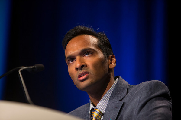 Orlando, FL - 2013 Genitourinary Cancers Symposium - Orlando, FL: Arul Chinnaiyan, MD, PhD discusses Personalized Medicine during the Keynote Lecture:  at the Genitourinary Cancers Symposium 2013 here today, Friday February 15, 2013. The Symposium is supported by ASCO, the American Society of Clinical Oncology, ASTRO, the American Society of Radiation Oncology and SUO, the Society of Urologic Oncology. Over 2,500 physicians, researchers and allied healthcare professionals are attending the meeting which is being held at the Rosen Shingle Creek in Orlando and features the latest Genitourinary Cancers research in the areas of basic and clinical science.  Date: Friday February 15, 2013.  Photo by © ASCO/Todd Buchanan 2013 Technical Questions: todd@medmeetingimages.com; Phone: 612-226-5154.