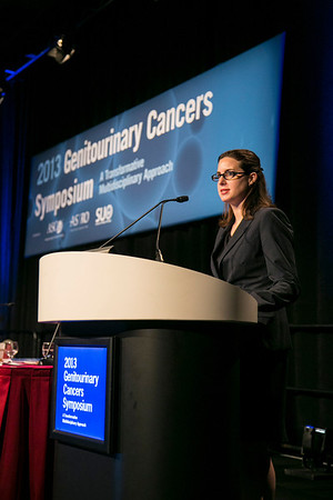 Orlando, FL - 2013 Genitourinary Cancers Symposium - Orlando, FL: Lauren C. Harshman, MD discusses Medical Oncologist during the Best of Journals Session: Renal Cancer at the Genitourinary Cancers Symposium 2013 here today, Saturday February 16, 2013. The Symposium is supported by ASCO, the American Society of Clinical Oncology, ASTRO, the American Society of Radiation Oncology and SUO, the Society of Urologic Oncology. Over 2,500 physicians, researchers and allied healthcare professionals are attending the meeting which is being held at the Rosen Shingle Creek in Orlando and features the latest Genitourinary Cancers research in the areas of basic and clinical science.  Date: Saturday February 16, 2013.  Photo by © ASCO/Todd Buchanan 2013 Technical Questions: todd@medmeetingimages.com; Phone: 612-226-5154.