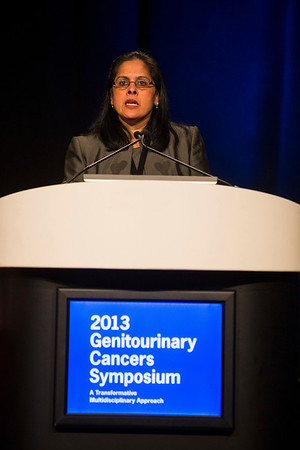 Orlando, FL - 2013 Genitourinary Cancers Symposium - Orlando, FL: Sandy Srinivas MD discusses abstracts during the Oral Abstract Session C: Renal Cancer at the Genitourinary Cancers Symposium 2013 here today, Saturday February 16, 2013. The Symposium is supported by ASCO, the American Society of Clinical Oncology, ASTRO, the American Society of Radiation Oncology and SUO, the Society of Urologic Oncology. Over 2,500 physicians, researchers and allied healthcare professionals are attending the meeting which is being held at the Rosen Shingle Creek in Orlando and features the latest Genitourinary Cancers research in the areas of basic and clinical science.  Date: Saturday February 16, 2013.  Photo by © ASCO/Todd Buchanan 2013 Technical Questions: todd@medmeetingimages.com; Phone: 612-226-5154.