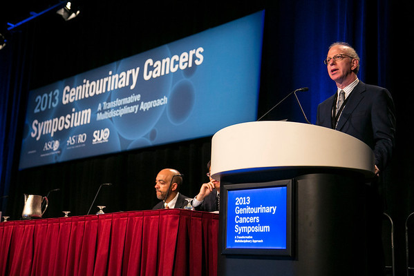 Orlando, FL - 2013 Genitourinary Cancers Symposium - Orlando, FL: Howard M. Sandler, MD discusses Opening Remarks during the Opening Session:  at the Genitourinary Cancers Symposium 2013 here today, Thursday February 14, 2013. The Symposium is supported by ASCO, the American Society of Clinical Oncology, ASTRO, the American Society of Radiation Oncology and SUO, the Society of Urologic Oncology. Over 2,500 physicians, researchers and allied healthcare professionals are attending the meeting which is being held at the Rosen Shingle Creek in Orlando and features the latest Genitourinary Cancers research in the areas of basic and clinical science.  Date: Thursday February 14, 2013.  Photo by © ASCO/Todd Buchanan 2013 Technical Questions: todd@medmeetingimages.com; Phone: 612-226-5154.