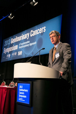 Orlando, FL - 2013 Genitourinary Cancers Symposium - Orlando, FL: Ian M. Thompson, MD discusses Understanding the U.S. Preventative Task Force Recommendations on Prostate-Specific Antigen Screening during the General Session I: : Prostate Cancer: Active Surveillance and Screening at the Genitourinary Cancers Symposium 2013 here today, Thursday February 14, 2013. The Symposium is supported by ASCO, the American Society of Clinical Oncology, ASTRO, the American Society of Radiation Oncology and SUO, the Society of Urologic Oncology. Over 2,500 physicians, researchers and allied healthcare professionals are attending the meeting which is being held at the Rosen Shingle Creek in Orlando and features the latest Genitourinary Cancers research in the areas of basic and clinical science.  Date: Thursday February 14, 2013.  Photo by © ASCO/Todd Buchanan 2013 Technical Questions: todd@medmeetingimages.com; Phone: 612-226-5154.