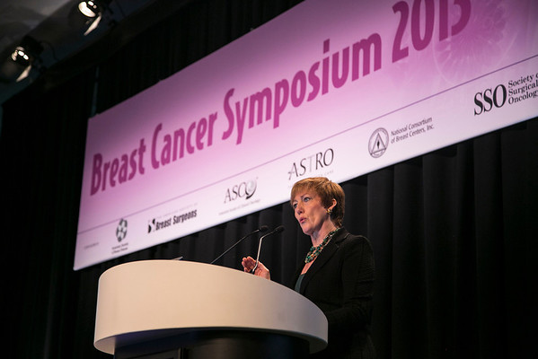 San Francisco, CA - 2013 Breast Cancer Symposium: Dr Monica Morrow delivers the Surgical Oncology Perspective Keynote at the ASCO Breast Cancer Symposium here today, Monday September 9, 2013. The Symposium is supported by ASCO, the American Society of Clinical Oncology, ASTRO, the Society of Surgical Oncology and SUO, the American Society of Breast Disease, The American Society of Breast Surgeons and the National Consortium of Breast Centers. Over 1,000 physicians, researchers and allied healthcare professionals are attending the meeting which is being held at the Marriott Marquis in San Francisco and features the latest Breast Cancer research in the areas of basic and clinical science.  Date: Monday September 9, 2013.  Photo by © ASCO/Todd Buchanan 2013 Technical Questions: todd@medmeetingimages.com; Phone: 612-226-5154.