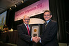 San Francisco, CA - 2013 Breast Cancer Symposium: Dr. Larry Norton recieves the Gianni Bonadonna Breast Cancer Award and Lecture from ASCO President Cliff Hudis at the ASCO Breast Cancer Symposium here today, Sunday September 8, 2013. The Symposium is supported by ASCO, the American Society of Clinical Oncology, ASTRO, the Society of Surgical Oncology and SUO, the American Society of Breast Disease, The American Society of Breast Surgeons and the National Consortium of Breast Centers. Over 1,000 physicians, researchers and allied healthcare professionals are attending the meeting which is being held at the Marriott Marquis in San Francisco and features the latest Breast Cancer research in the areas of basic and clinical science.  Date: Sunday September 8, 2013.  Photo by © ASCO/Todd Buchanan 2013 Technical Questions: todd@medmeetingimages.com; Phone: 612-226-5154.