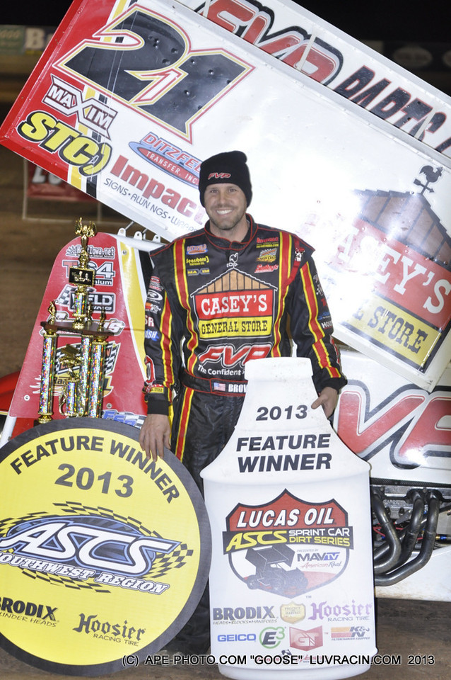 LUCAS OIL FEATURE WINNER BRIAN BROWN TUCSON AZ.