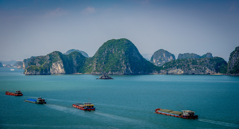 Freighters in Halong Bay