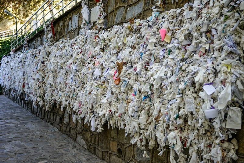 """EPHESUS -Virgin Mary's House, """"wishing wall"""" which pilgrims have used by tying their personal intentions on paper or fabric"""