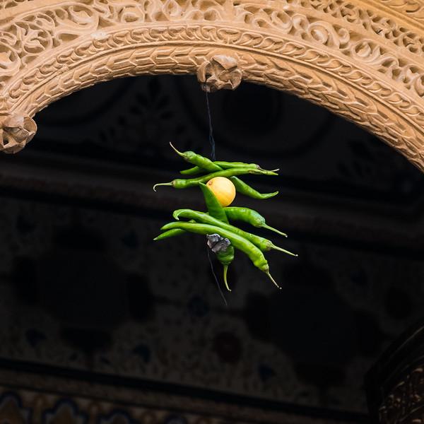 7 Green Peppers, & lemon for Good Luck, Jaisalmer, Rajasthan