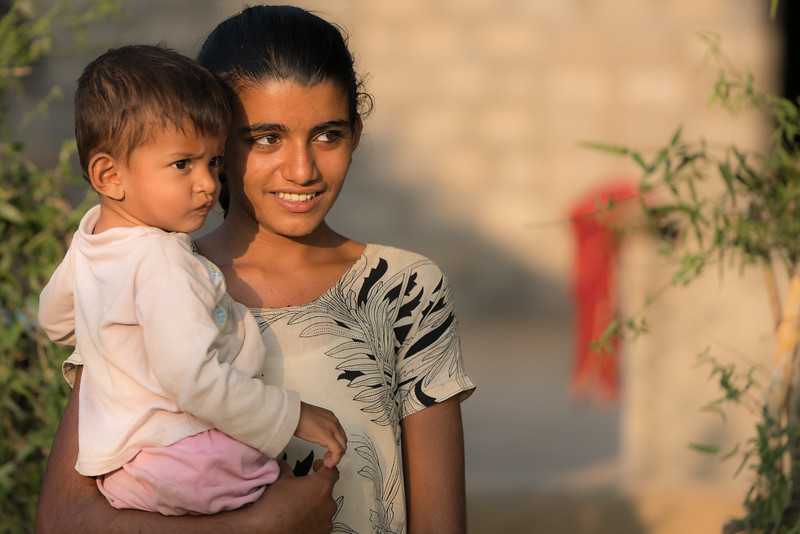 Bishnoi Girl and a Child, Rajasthan
