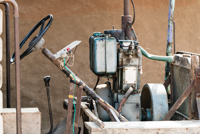 """Jugar"" Vehicle; constructed out of bits and pieces with an irrigation motor"