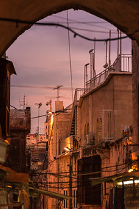 The old city of Jerusalem during sunset.