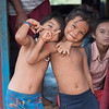 Portrait of children gesturing, Siem Reap, Cambodia