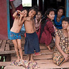 Portrait of children making gestures, Siem Reap, Cambodia