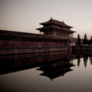 Moat around Forbidden City at Sunset