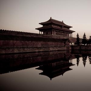 Moat around Forbidden City at Sunset