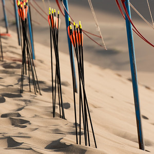 Bow and arrows on sand dunes at Mingsha Shan, Dunhuang, Jiuquan, Gansu Province, China