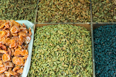 Varieties of dried fruit and nuts in market, Dong Dajie, Dunhuang, Jiuquan, Gansu Province, China