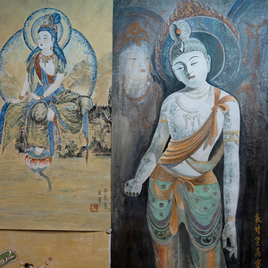 Close-up of wall mural, Dunhuang, Jiuquan, Gansu Province, China