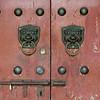 Traditional lion head door knocker, Xi'an, Shaanxi, China.