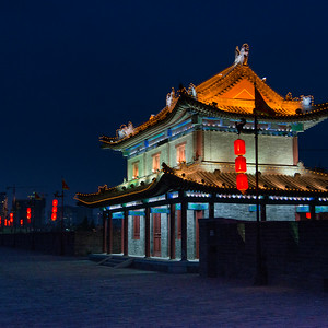 Chinese lanterns and illuminated building at Xi'an, Shaanxi, China.