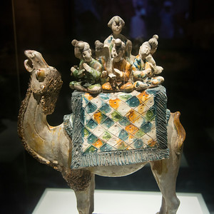 Statue of Sancai Camel with Musicians displayed at Shaanxi History Museum, Xi'an, Shaanxi, China.
