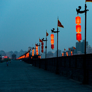 Chinese lanterns on Xi'an City Wall, Xi'an, Shaanxi, China.