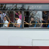 Passengers travelling in a bus, Xi'an, Shaanxi, China.