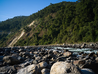 Scenic view of river flowing through rocks, Darjeeling, West Bengal, India