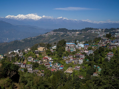 Elevated view of houses on a hill, Darjeeling, West Bengal, India