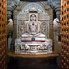 Idol of Chandraprabhu a saviour and spiritual teacher of Jainism inside Chandraprabhu Jain Temple, Jaisalmer Fort, Jaisalmer, Rajasthan, India
