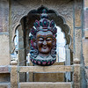 Close-up of wooden carving of a Jain God, Jaisalmer, Rajasthan, India