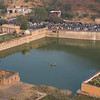 Elevated view of lake, Amber Fort, Jaipur, Rajasthan, India