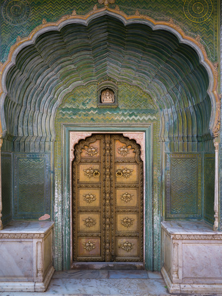 Architectural details of Peacock Gate, Chandra Mahal, City Palace, Jaipur, Rajasthan, India