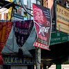 Signboards and posters in street, Kolkata, West Bengal, India