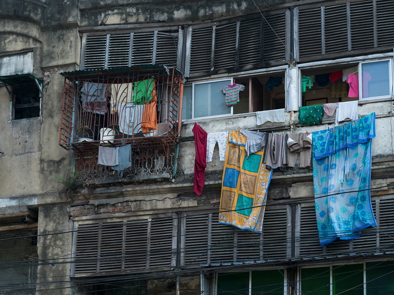 Clothes drying in front of old houses, Kolkata, West Bengal, India
