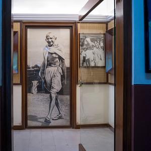 Photographs of Mahatma Gandhi in museum, Mani Bhavan - Mahatma Gandhi's Residence in Mumbai 1917-1934, Gandhi's Museum & Library, Mumbai, Maharashtra, India