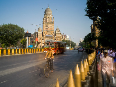 People in street with government building in the background, Mumbai Municipal Corporation, Mumbai, Maharashtra, India