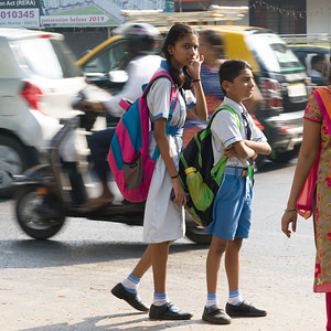 School children on road, Mumbai, Maharashtra, India