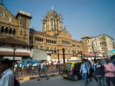 Street scene outside railroad station, Chhatrapati Shivaji Maharaj Terminus, Mumbai, Maharashtra, India