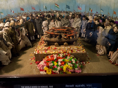 Figurines depicting Funeral of Mahatma Gandhi in 1948, Mani Bhavan, Gandhi's Museum & Library, Mumbai, Maharashtra, India