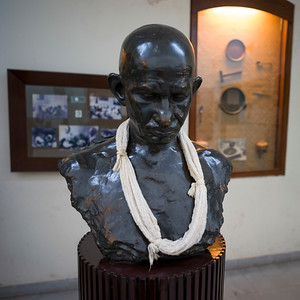 Close-up of the bust of Mahatma Gandhi, Mani Bhavan - Mahatma Gandhi's Residence in Mumbai 1917-1934, Gandhi's Museum & Library, Mumbai, Maharashtra, India