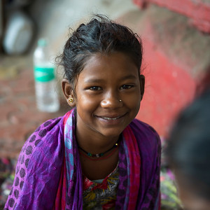 Portrait of young girl smiling, Mahalaxmi, Mumbai, Maharashtra, India