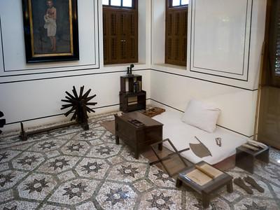Interiors of Mahatma Gandhi's Room, Mani Bhavan - Mahatma Gandhi's Residence in Mumbai 1917-1934, Gandhi's Museum & Library, Mumbai, Maharashtra, India