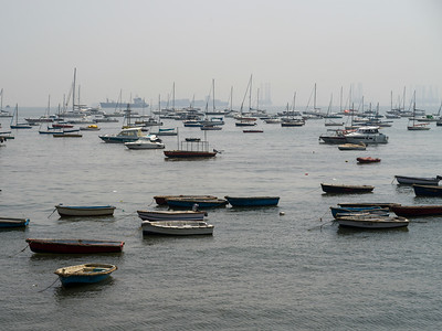 Boats in Arabian Sea seen from Gateway of India, Apollo Bandar, Colaba, Mumbai, Maharashtra, India
