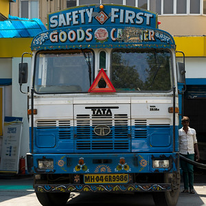 Truck at a gas station, Mumbai, Maharashtra, India