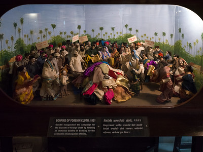 Figurines depicting Bonfire of Foreign Cloth, a campaign by Mahatma Gandhi for the boycott of foreign cloth by kindling an immense bonfire, Mani Bhavan, Gandhi's Museum & Library, Mumbai, Maharashtra, India