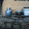 Utensils outside traditional hut, Rinchenpong, Sikkim, India