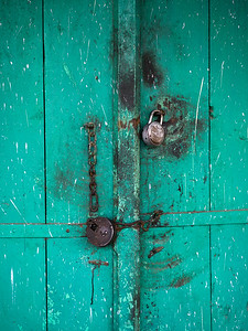 Close-up of padlocked door, Narendranagar, Tehri Garhwal, Uttarakhand, India